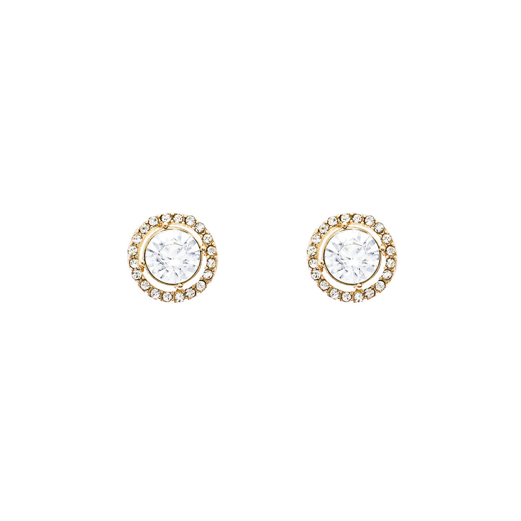 Round Halo Crystal Stud Earrings (Gold and Clear)