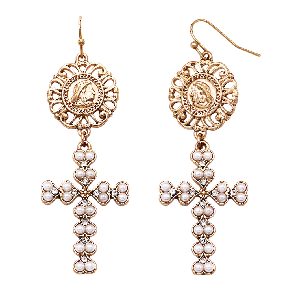 Women's Coin Top and Faux Pearl Religious Christian Cross Dangle Earrings