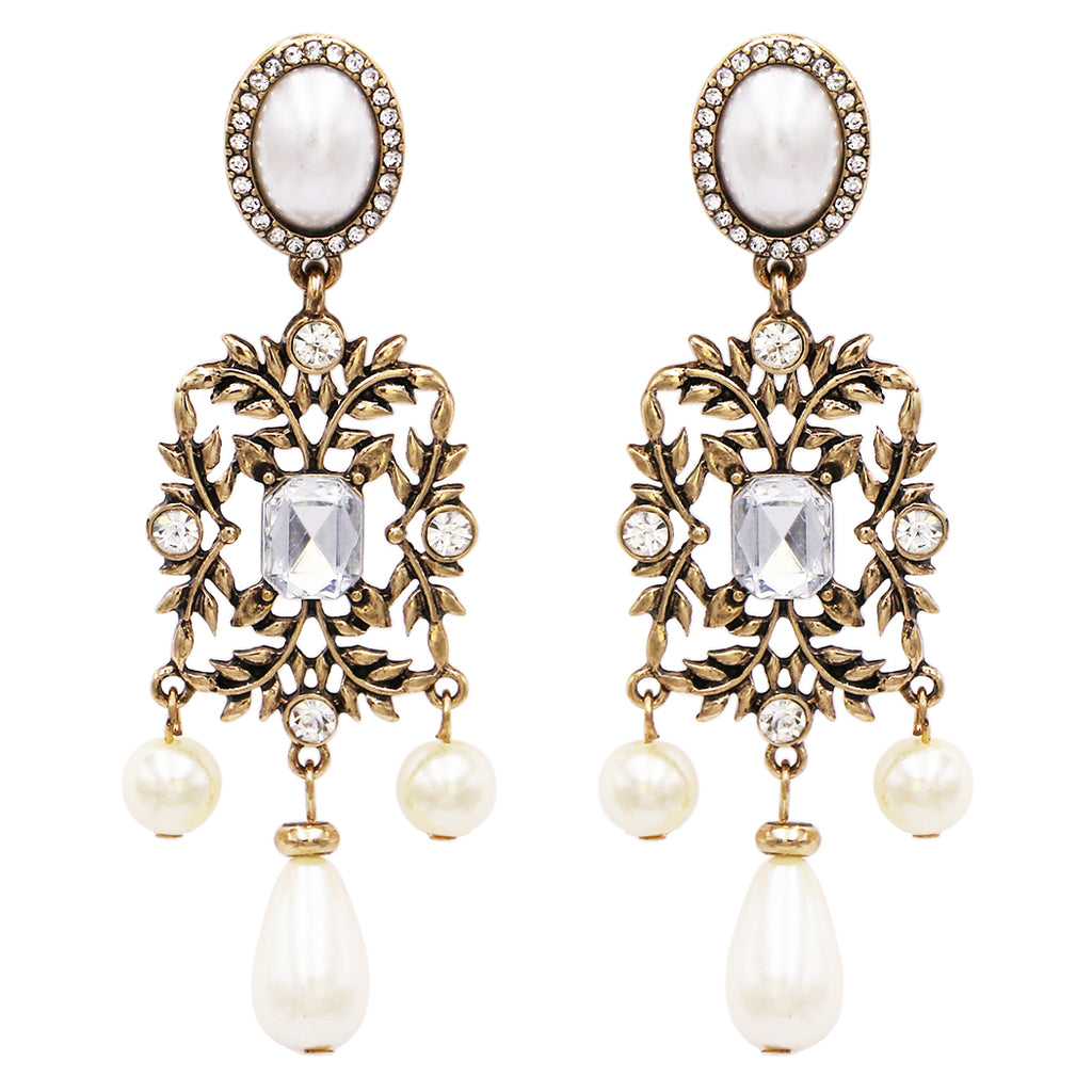 Hypoallergenic Vintage Style Burnished Gold Tone Long Simulated Pearl and Crystal Design Long Statement Earrings, 3.25""