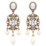 Hypoallergenic Vintage Style Burnished Gold Tone Long Simulated Pearl and Crystal Design Long Statement Earrings, 3.25