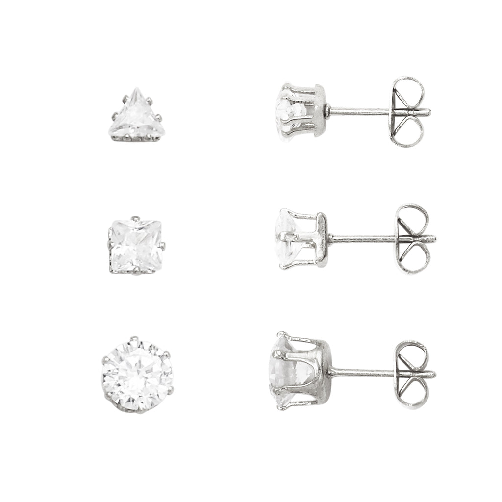 Crystal Stud Earrings Set of 3 (Silver)