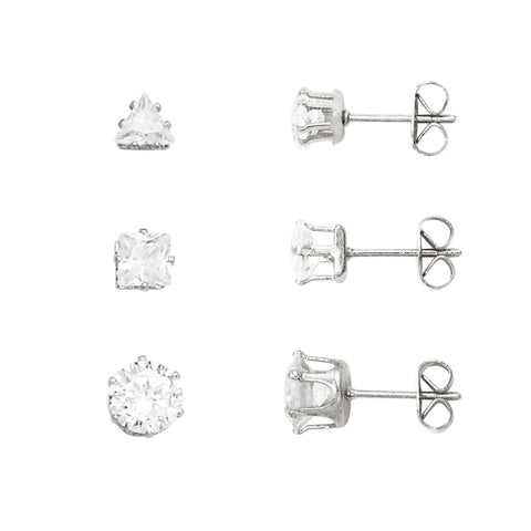 Crystal Stud Earrings Set of 3 (Gold)