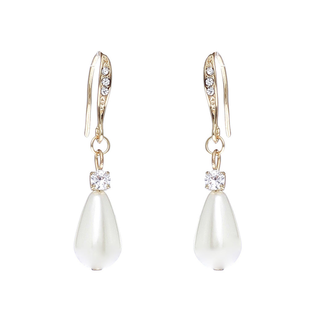 Rhinestone With Tear Drop Faux Pearl Dangle Earrings (Gold)