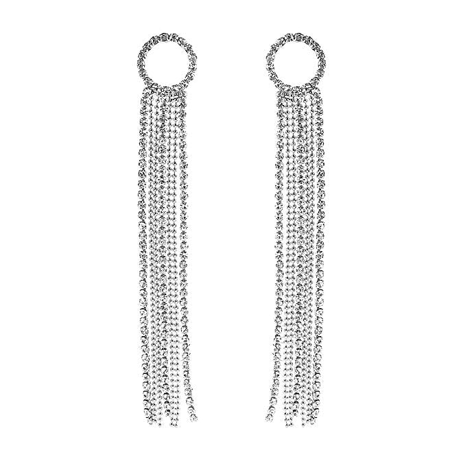 Crystal Rhinestone Circle and Extra Long Fringe Drop Earrings (Silver)
