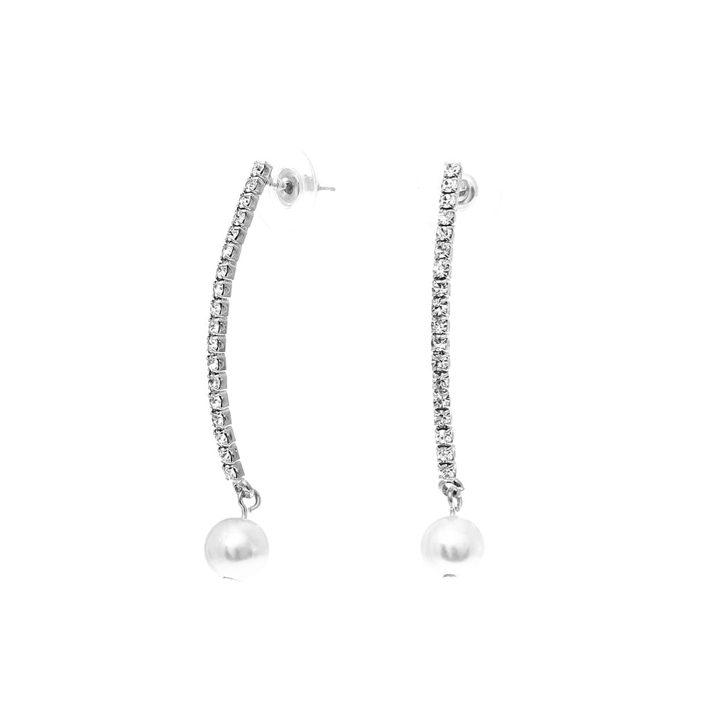 Rhinestone Vertical Bar With Faux Pearl Dangle Earrings (Silver)