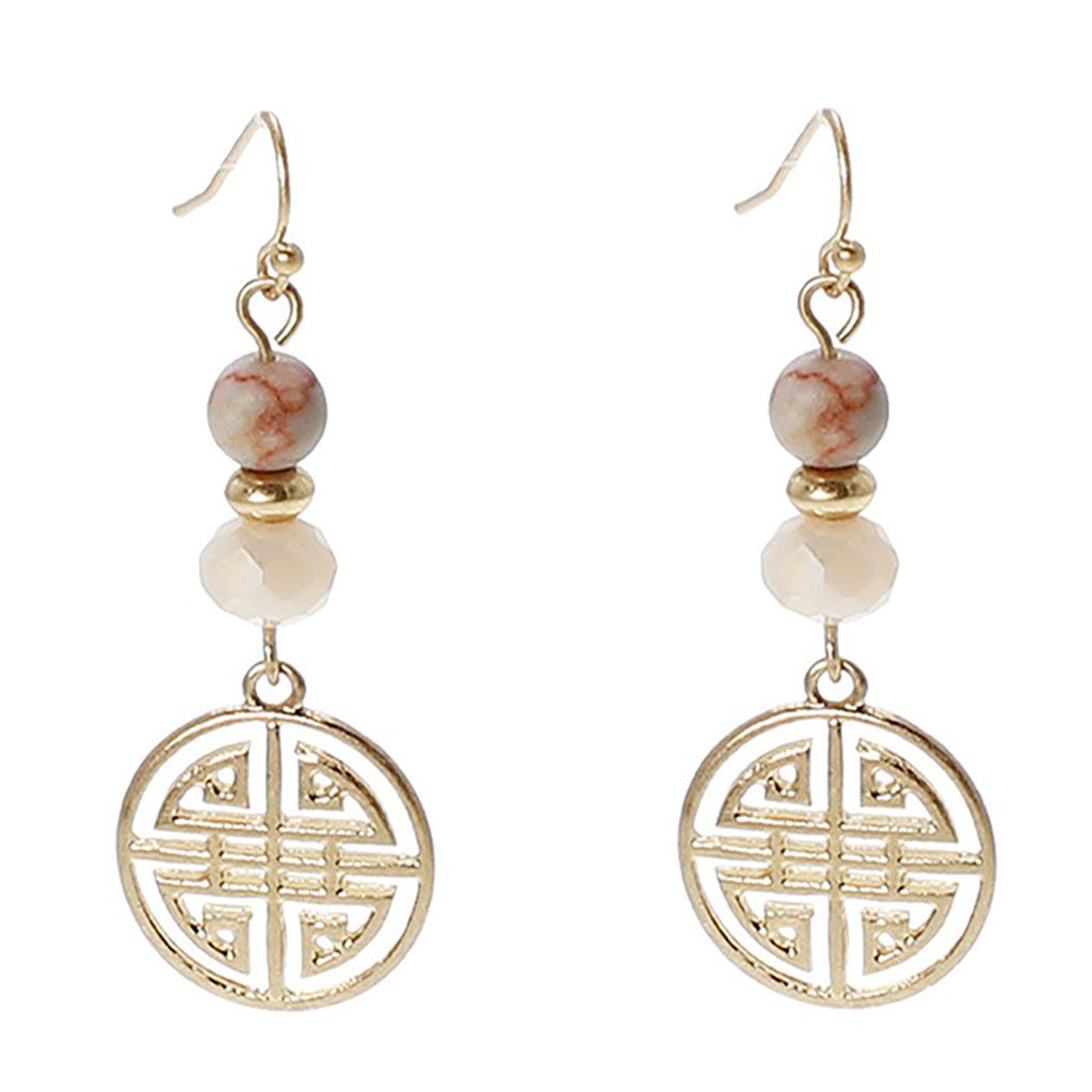 "Statement ""Four Blessings"" Good Luck Dangle Earrings (Light Pink)"