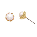 Elegant Faux Pearl Flower Stud Earrings (Gold)