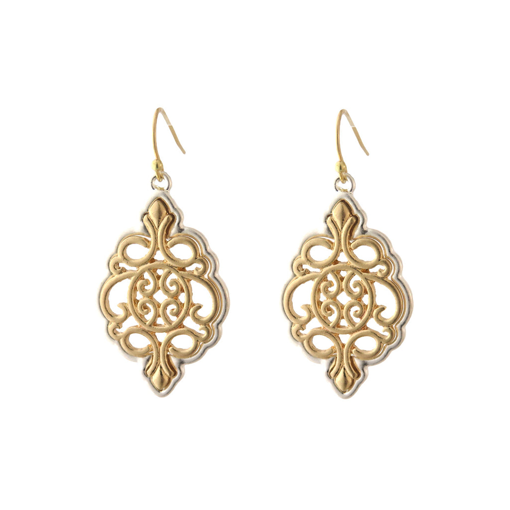 Moroccan Style Two Tone Dangle Earrings (Gold)