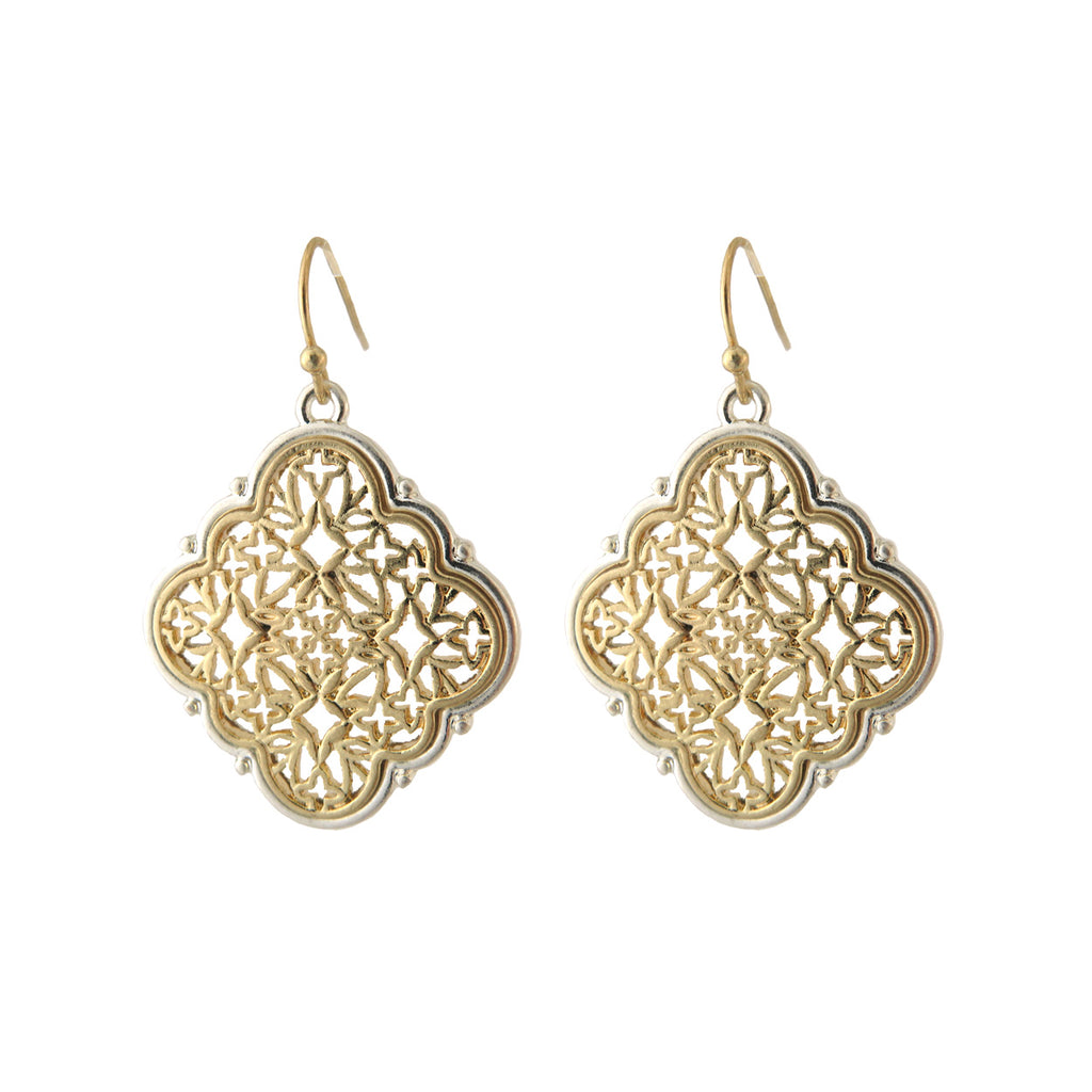 Two Tone Metal Filigree Quatrefoil Dangle Earrings (Gold)