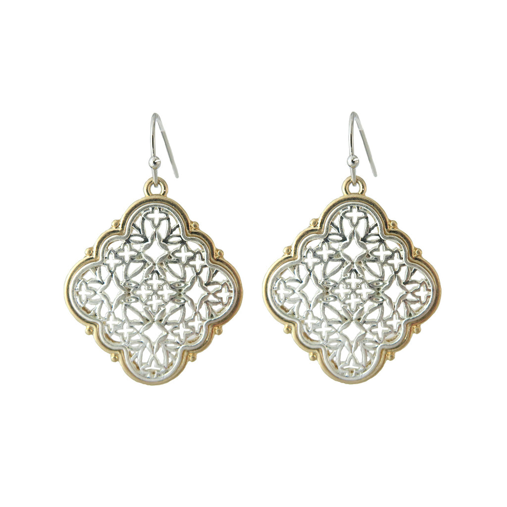 Two Tone Metal Filigree Quatrefoil Dangle Earrings (Silver)