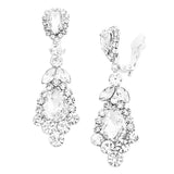 Statement Crystal Rhinestone Teardrop Chandelier Clip on Earrings