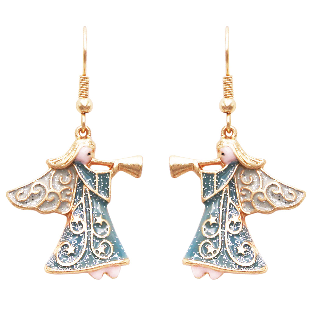 Whimsical Sparkling Enamel Holiday Christmas Angel Dangle Earrings