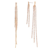 Unique Crystal Rhinestone Strands Double Sided Shoulder Duster Hypoallergenic Statement Earrings (Gold Tone)