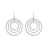 Crystal Rhinestone Triple Circle Infinity Rings Dangle Earrings