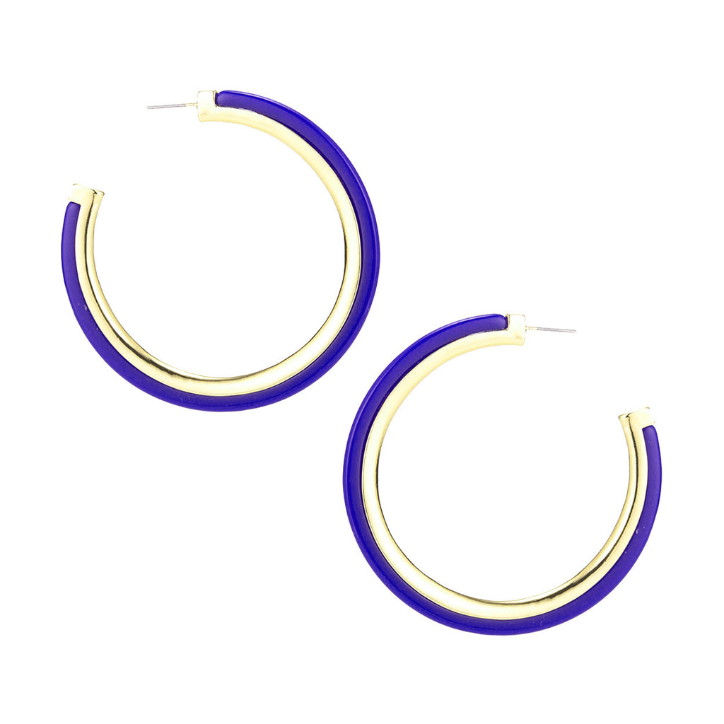 Hypoallergenic Metal Trim Lucite Hoop Earrings (Blue 60mm)