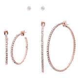 Set of 3 Hypoallergenic Crystal Rhinestone Stud and Hoops Post Back Earrings (Rose Gold Tone)