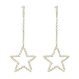 Sparkling Crystal Star Dangle Earrings (Gold Tone)