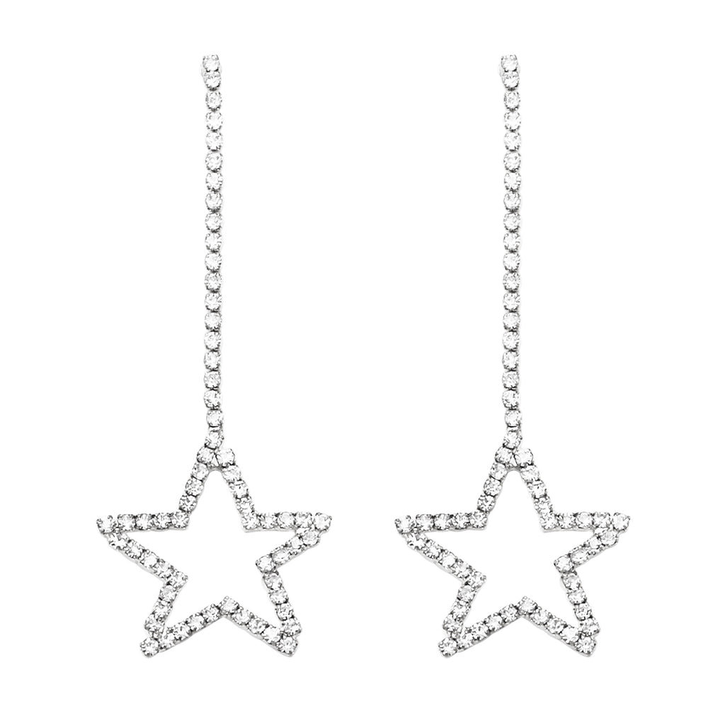 Sparkling Crystal Star Dangle Earrings (Silver Tone)