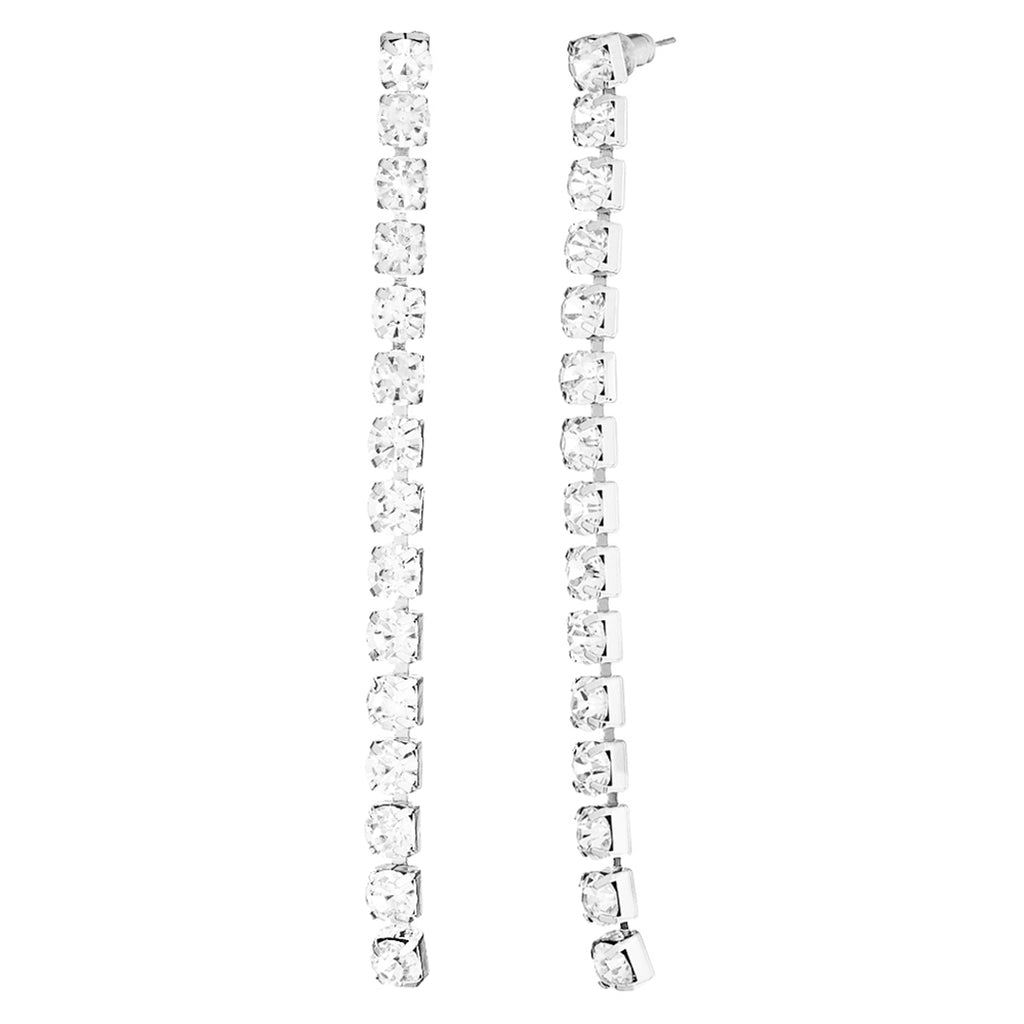 Hypoallergenic 6mm Crystal Rhinestone Extra Long Strand Drop Earrings (Clear/Silver Tone)