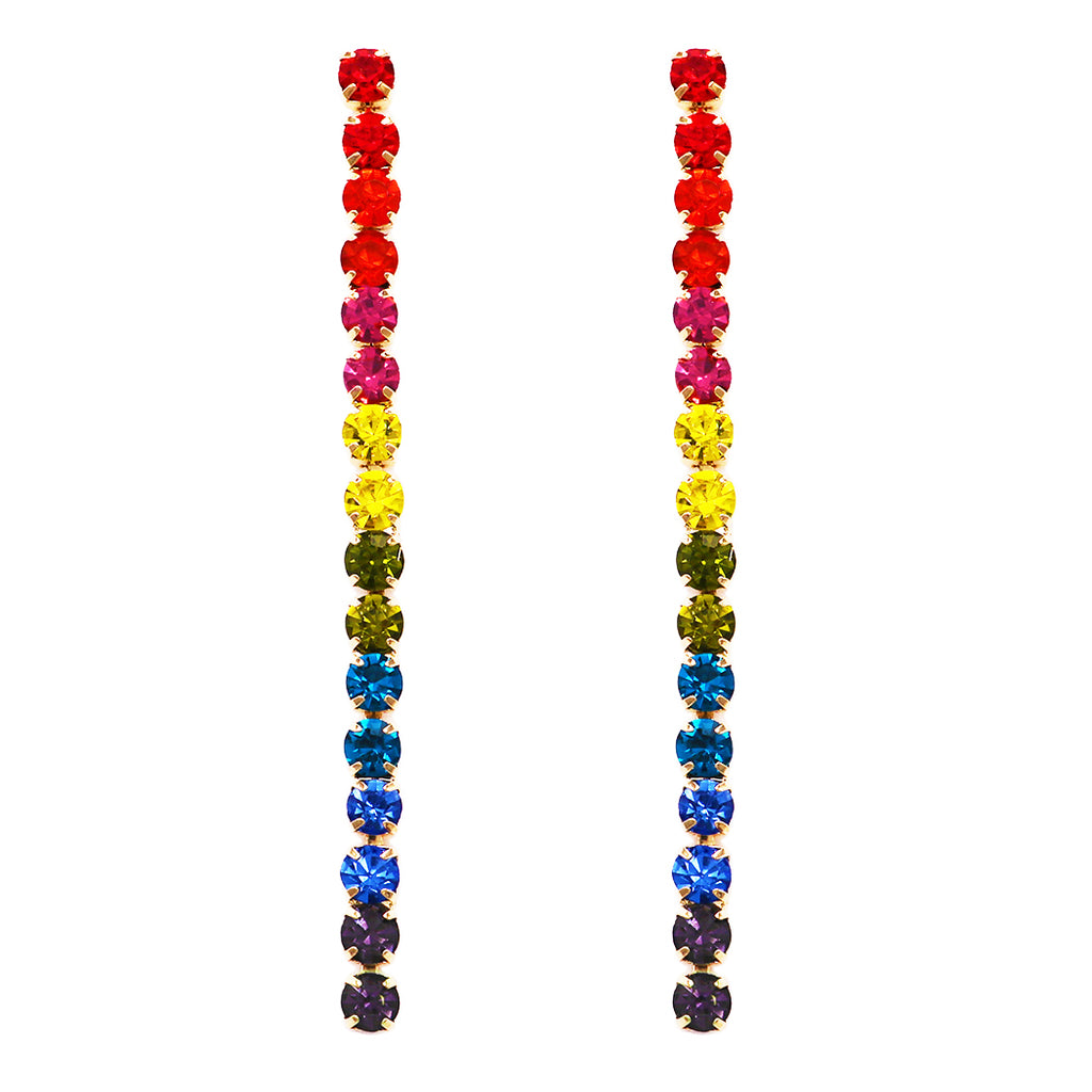 Hypoallergenic 6mm Crystal Rhinestone Extra Long Strand Drop Earrings (Rainbow/Gold Tone)