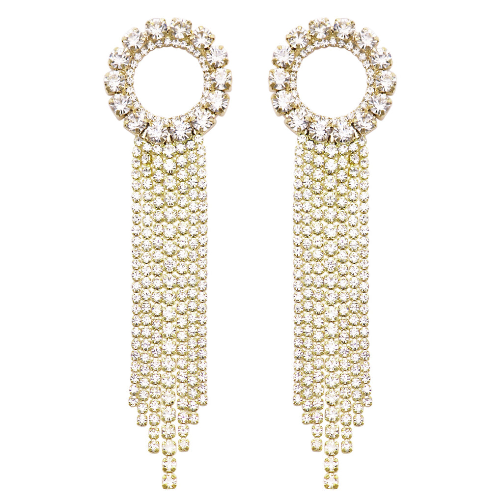 Stunning Crystal Rhinestone Circle and Extra Long Shoulder Duster Fringe Drop Hypoallergenic Earrings