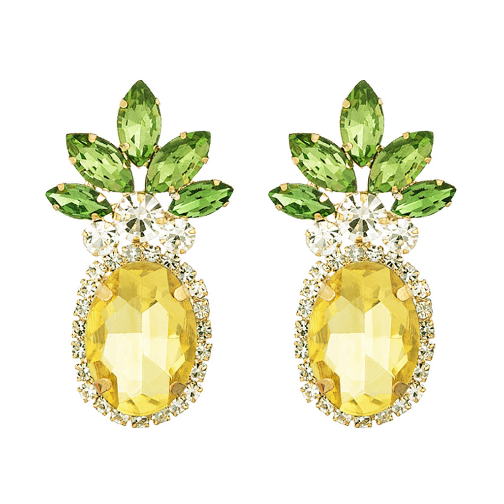 Statement Crystal Rhinestone Whimsical Fruit Pineapple Hypoallergenic Post Earrings
