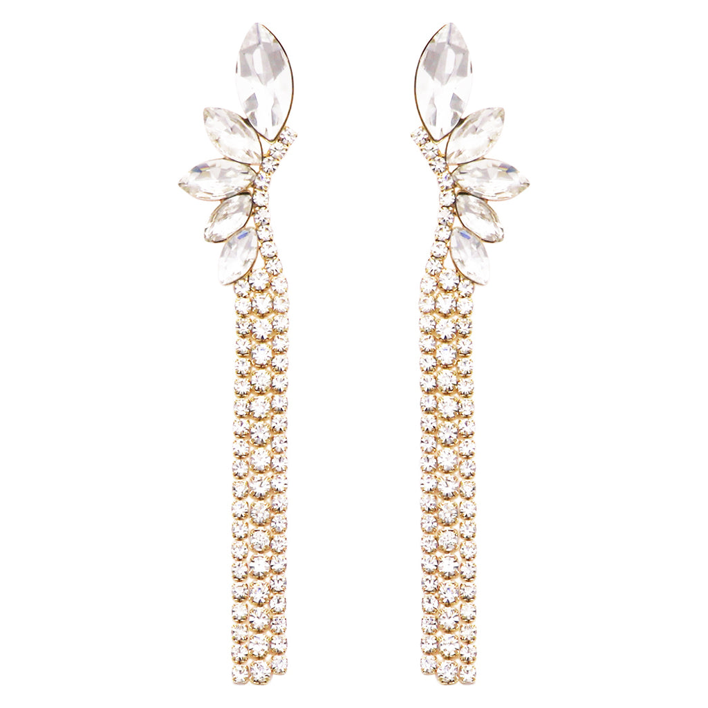 Hypoallergenic Marquise Cut and Fringe Crystal Rhinestone Long Strand Drop Earrings (Gold Tone)