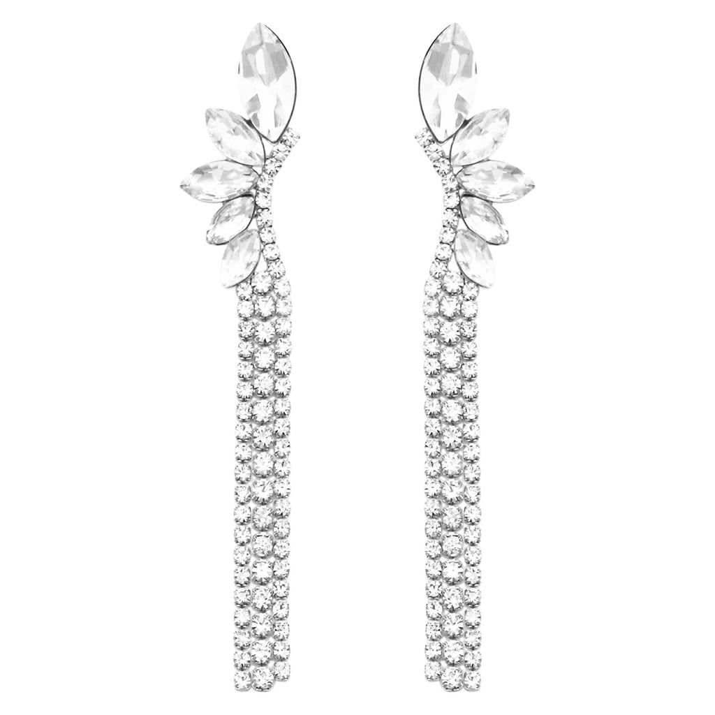 Hypoallergenic Marquise Cut and Fringe Crystal Rhinestone Long Strand Drop Earrings (Silver Tone)