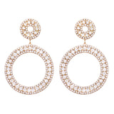 Women's Hypoallergenic Crystal Open Circle Drop Hoop Earrings, 3