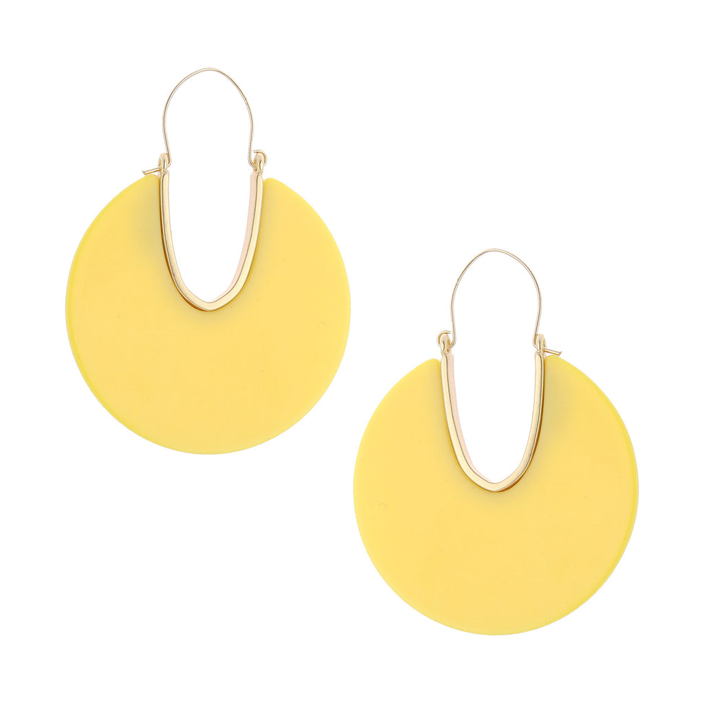 Lucite Solid Triple Disc Necklace and Dangle Hoop Earrings (Yellow Earrings Only)