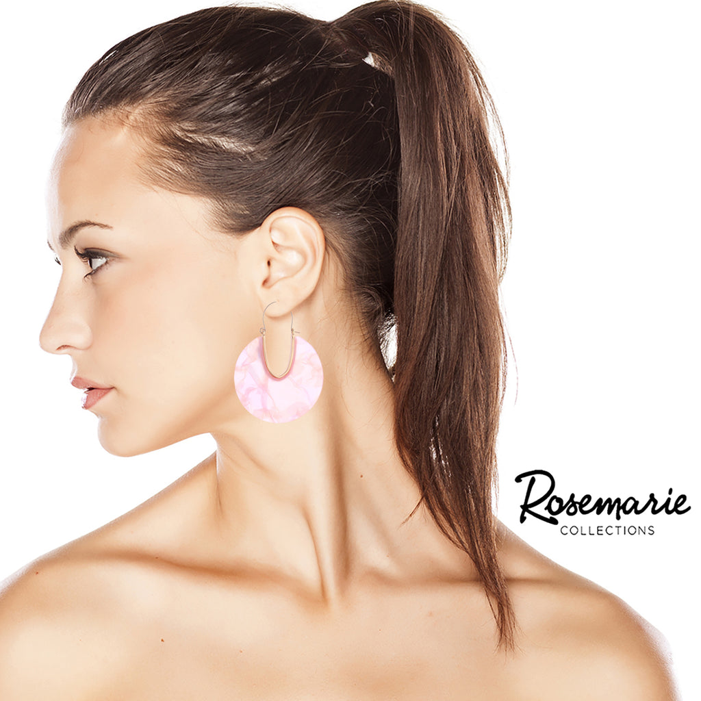 Lucite Solid Triple Disc Necklace and Dangle Hoop Earrings (Rose Earrings Only)