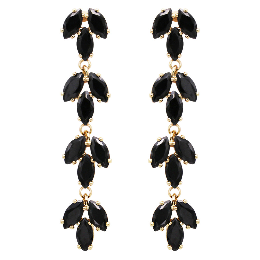 Beautiful Black Cubic Zirconia 4 Tier Marquise Cut Hypoallergenic Long Dangle Post Earrings