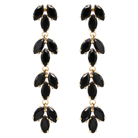 "Stunning Hypoallergenic Premium CZ Crystal Vertical Bar Dangle Earrings, 2"" (Gold Tone)"