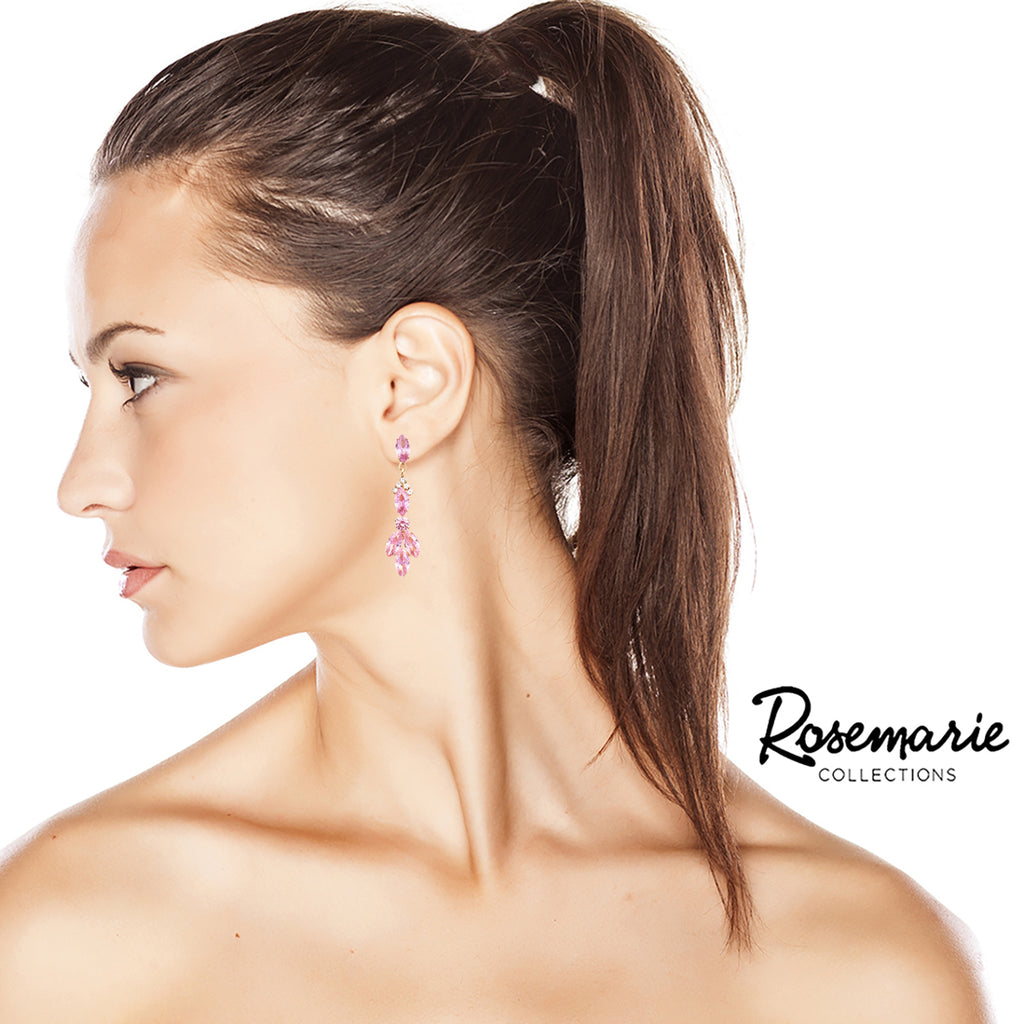 Beautiful Cubic Zirconia Marquise Cut Chandelier Hypoallergenic Post Earrings (Light Rose)
