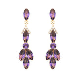 Beautiful Cubic Zirconia Marquise Cut Chandelier Hypoallergenic Post Earrings (Tanzanite Purple)