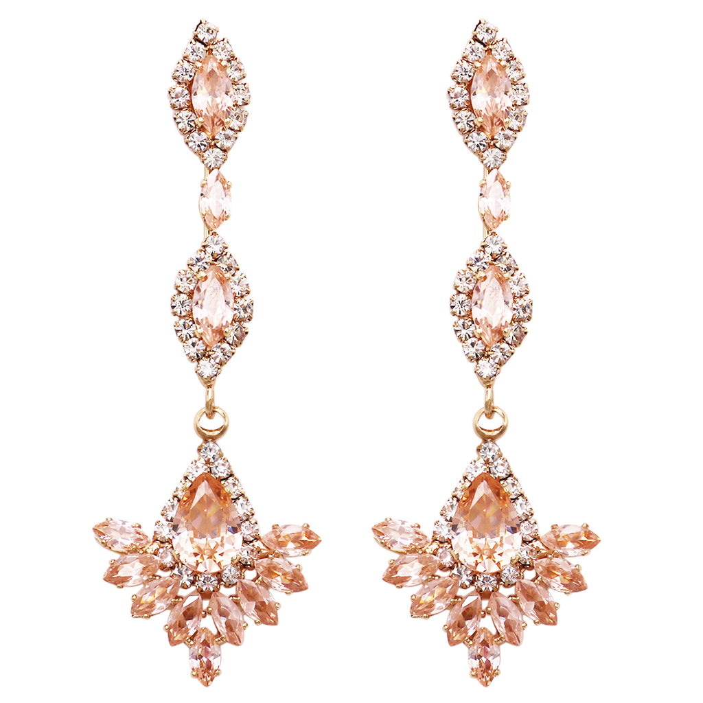 Beautiful Peach Cubic Zirconia Chandelier Fan Dangle Hypoallergenic Post Earrings