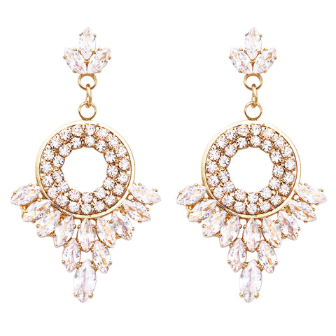 Asymmetrical Baguette Hoops with Premium Cubic Zirconia Hypoallergenic Post Back Earrings, .75""