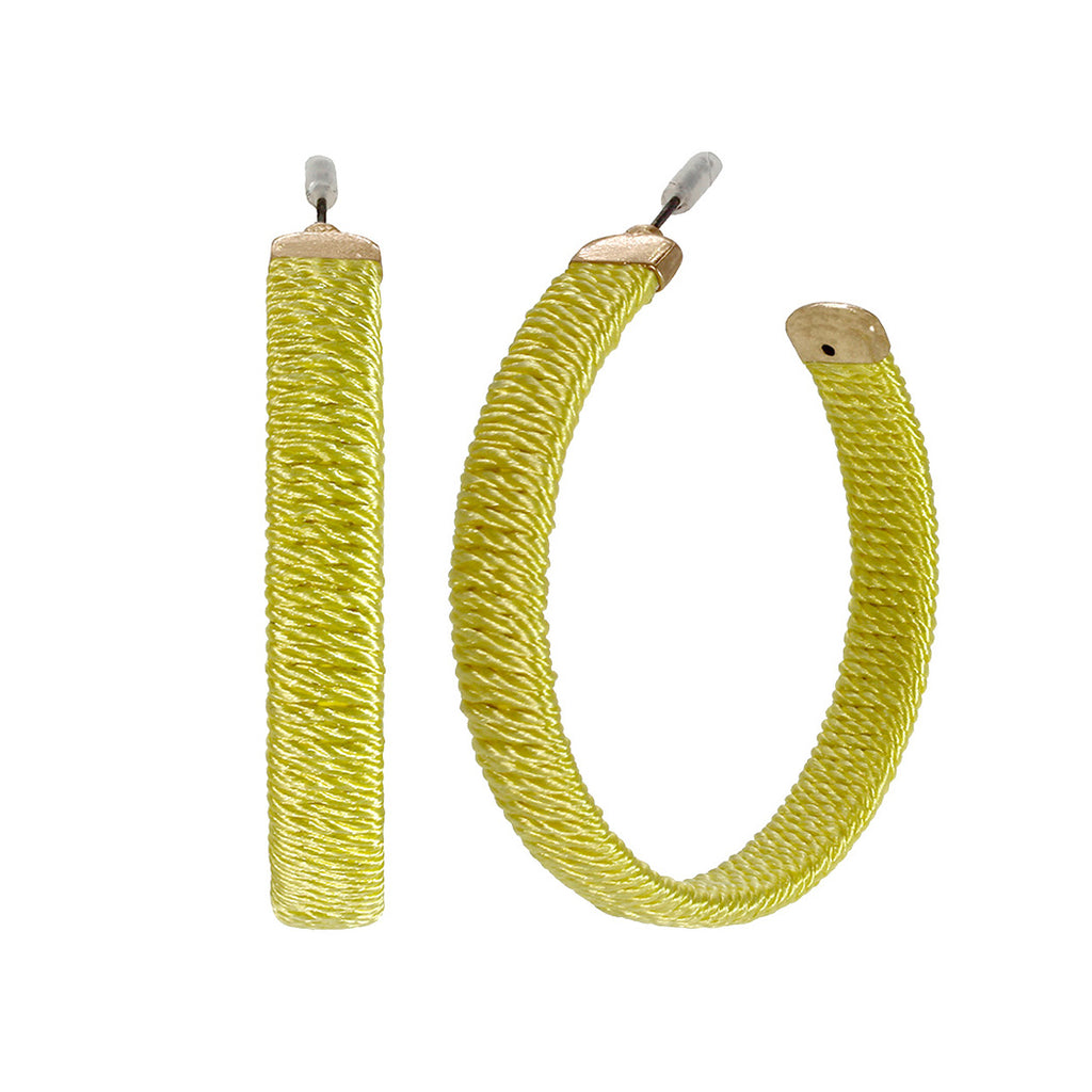 Hypoallergenic Sunshine Yellow Thread Wrapped Hoop Earrings
