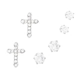 3 Pairs Hypoallergenic Trendy Small Cross and Stud Cubic Zirconia Earring Set