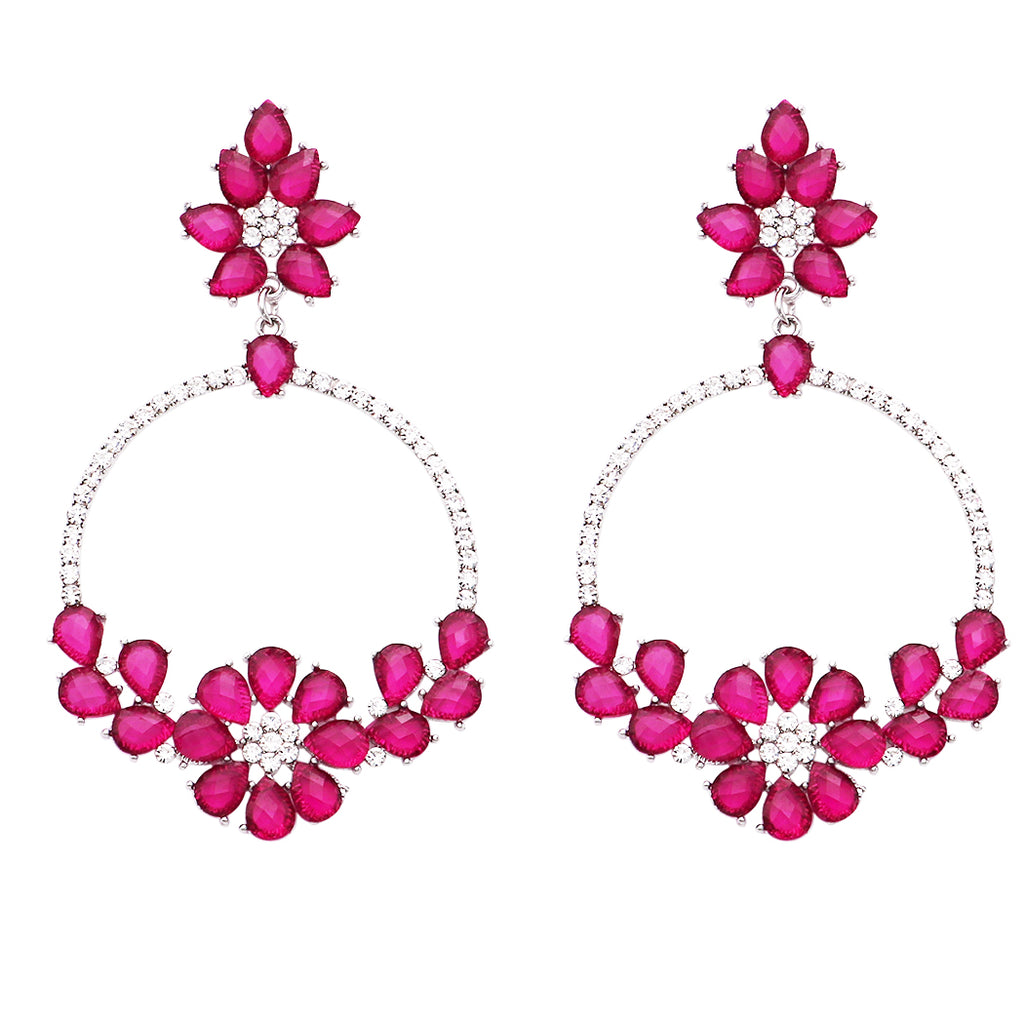 fun-ttore Statement 7 Color Vintage Pink Crystal Flower Stud Earrings,Gold