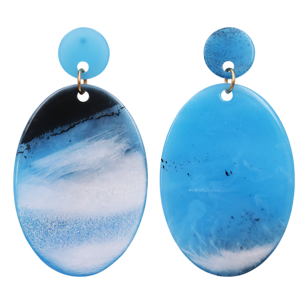 Statement Oval Celluloid Disc Dangle Hypoallergenic Earrings