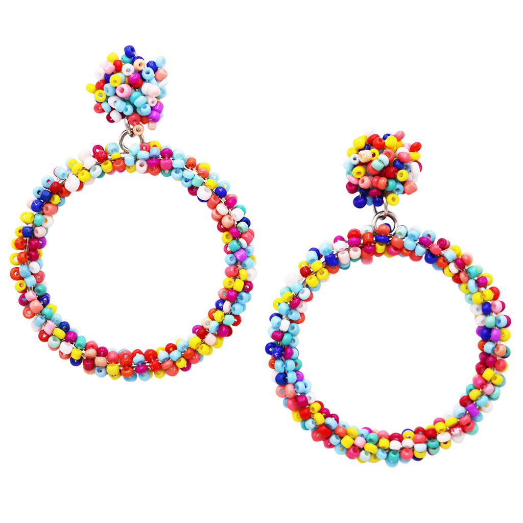 Women's Hypoallergenic Oversize Dangle Rainbow Seed Bead Hoop Earrings