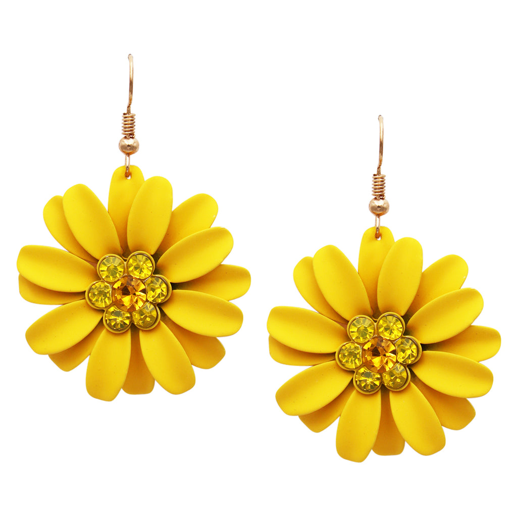 Women's Sunshine Yellow Daisy Flower Earrings