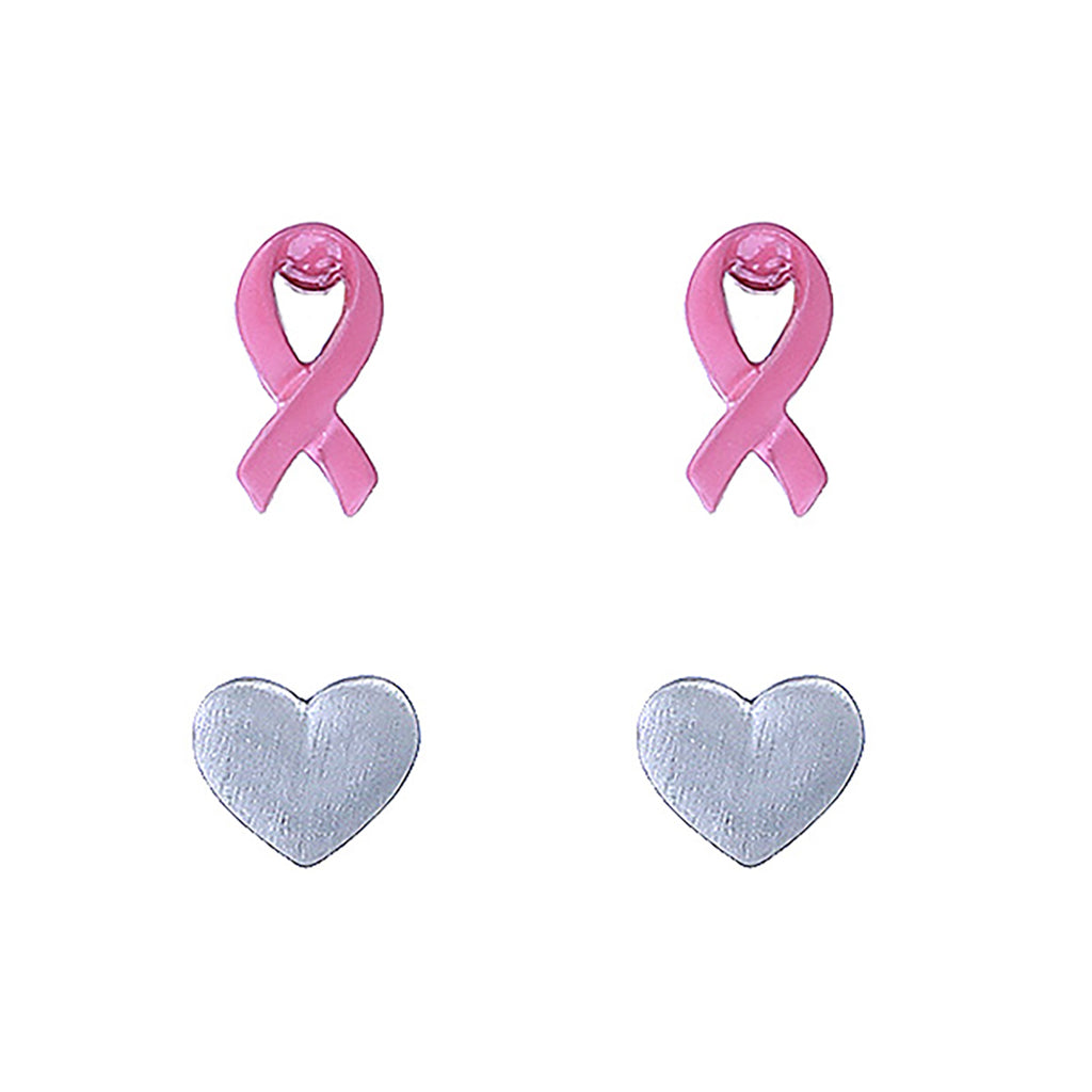 Women's Breast Cancer Pink Ribbon and Heart Hypoallergenic Post Stud Earrings Gift Set of 2
