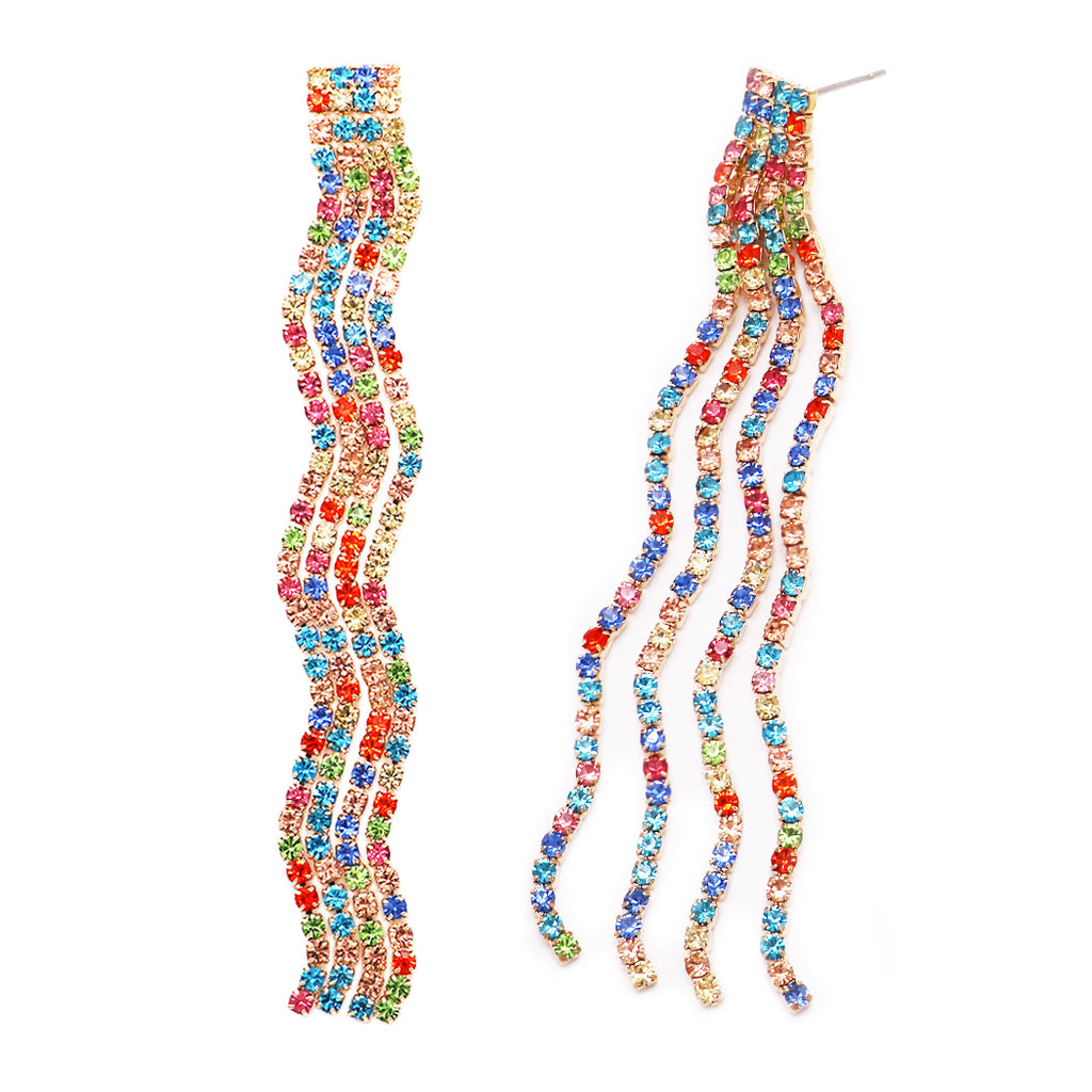"Dazzling Crystal Wave Fringe Hypoallergenic Post Earrings, 3.25"" (Rainbow/Gold Tone)"
