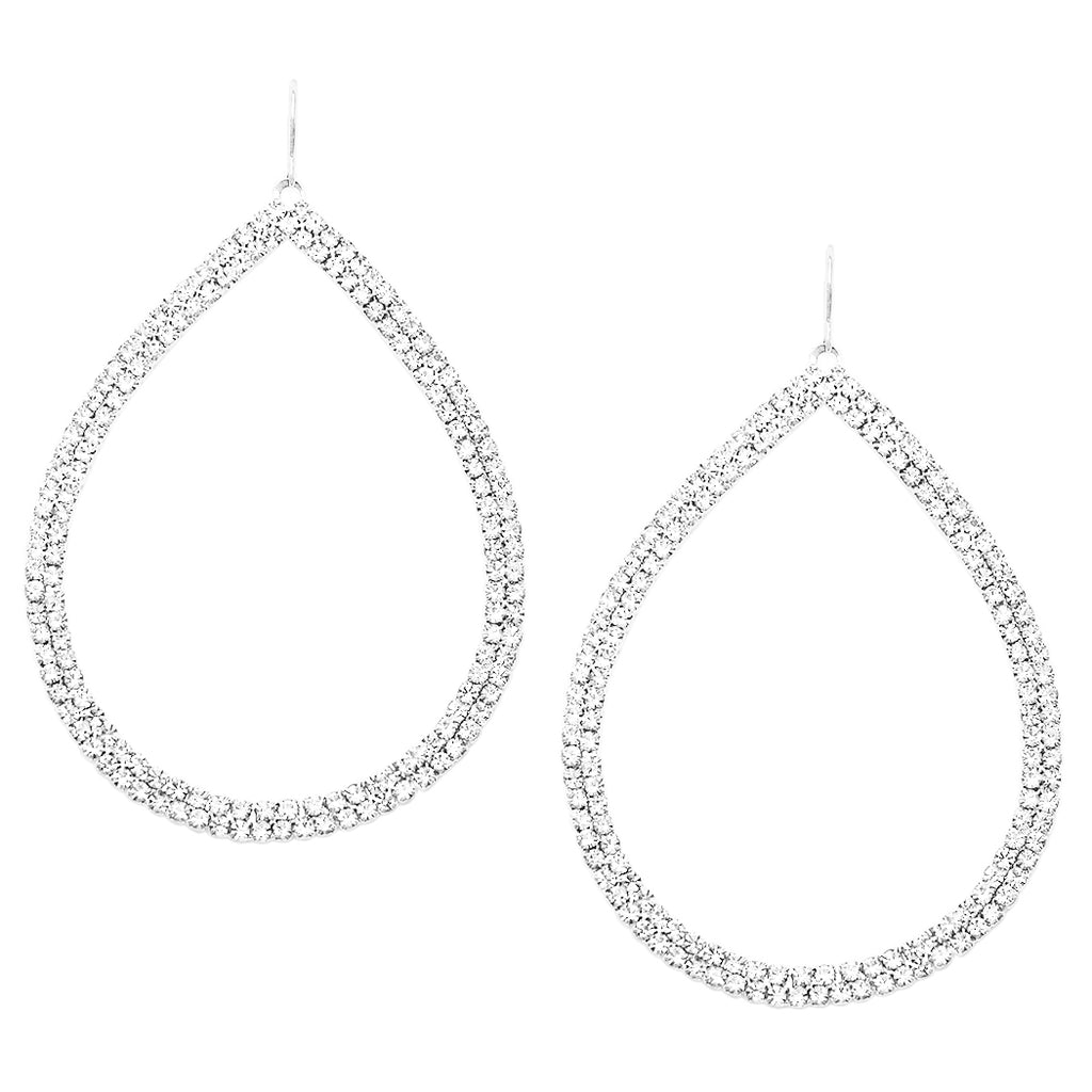 Dazzling Open Teardrop Crystal Hoop Earrings, 30mm-50mm (Silver Tone, 50)