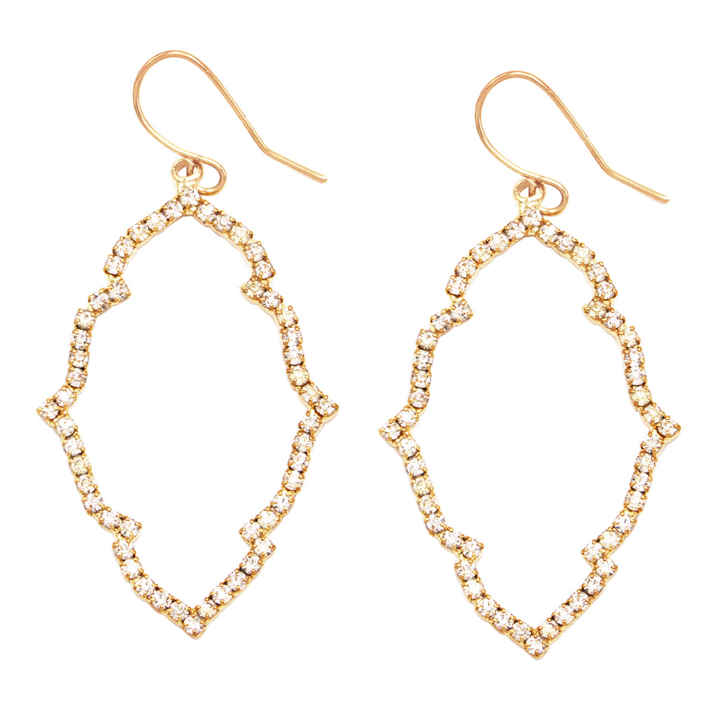 "Stunning Pave Crystal Elongated Quatrefoil Dangle Earrings, 2"" (Gold Tone/Clear)"