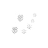 Set of 3 Pairs Hypoallergenic Cubic Zirconia Stud Earrings (Lucky Four Leaf Clover/Silver Tone)