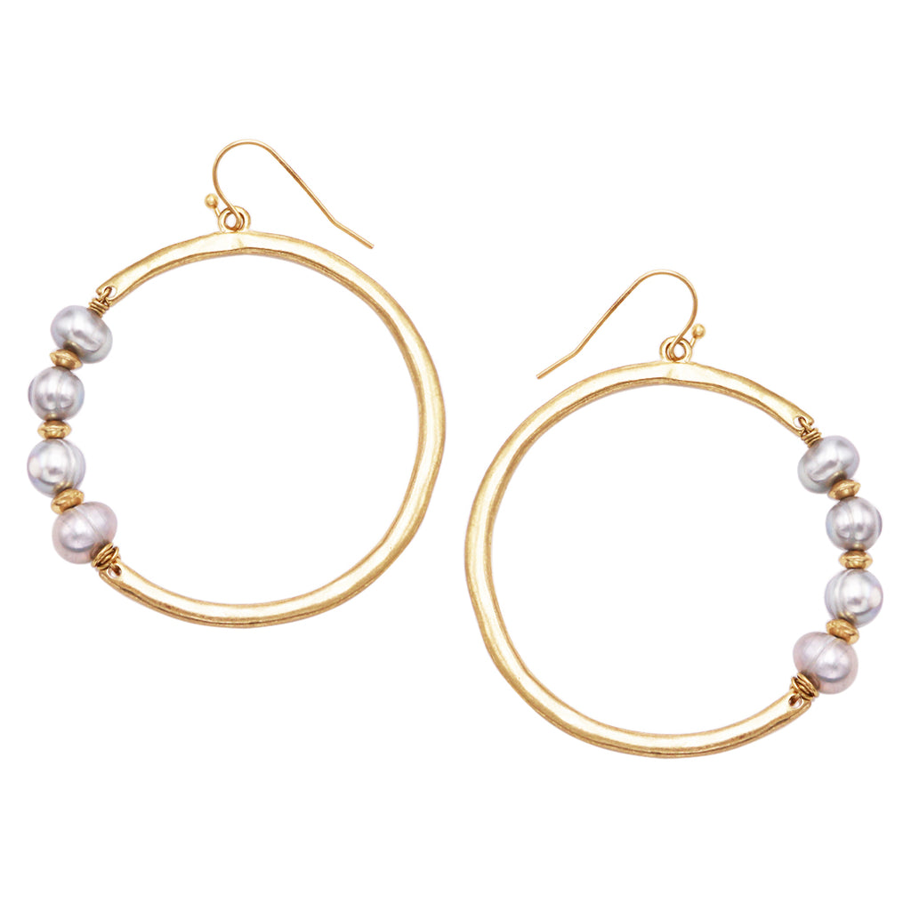 Freshwater Pearl Burnished Gold Tone Open Hoop Earrings, 2.5""