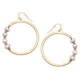 Freshwater Pearl Burnished Gold Tone Open Hoop Earrings, 2.5